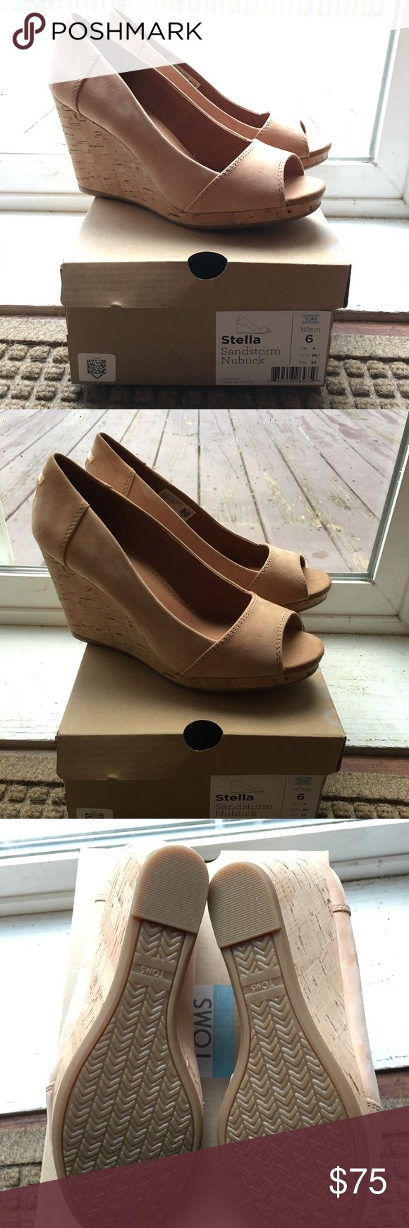 Toms Stella Wedges in Sandstorm Nubuck size 6 Brand new, never worn Toms wedges in a size 6. Originally purchased to wear to a wedding but they were too big and I did not return them online in time to get a refund or exchange. Toms Shoes Wedges