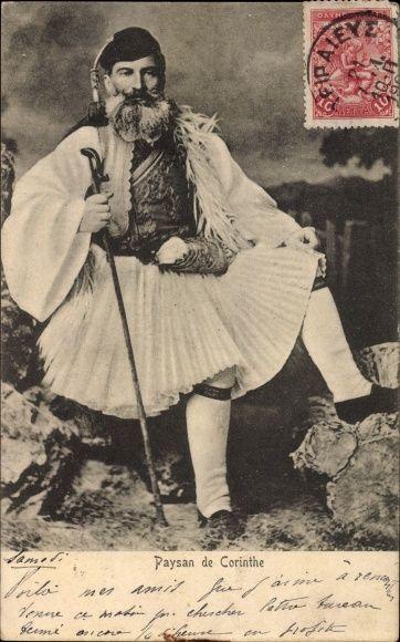 Postcard Griechenland, Paysan de Corinthe, Grieche in Tracht, Rock