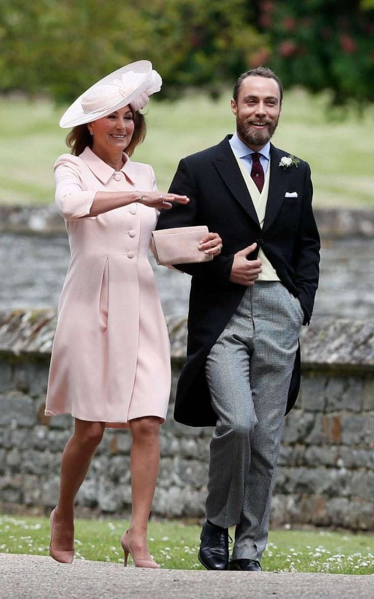 Carole Middleton nailed mother-of-the-bride style once again today, wearing a pale pink ensemble to youngest daughter Pippa Middleton