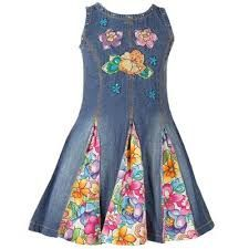 Could be refashioned from one of those out old dated long denim dresses.  I may even still have one!