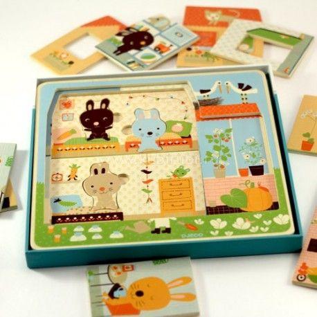 Juego Puzzle por capas La Casa de los Zanahoria.