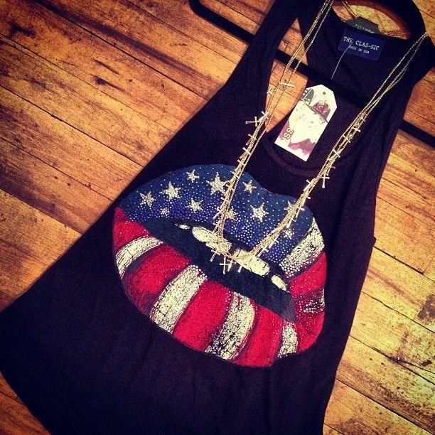 Top, clothes, cute, American flag lips, shirt