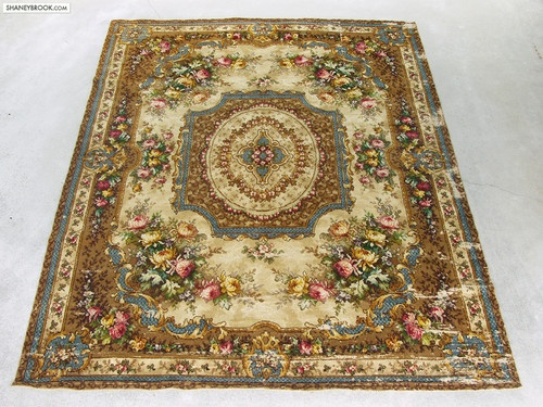 9x11 Antique Floral Cabbage Rose Victorian Oriental Wool