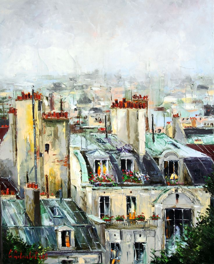 'Rooftops of Paris' by Gleb Goloubetski Oil on Canvas 80cm x 65cm