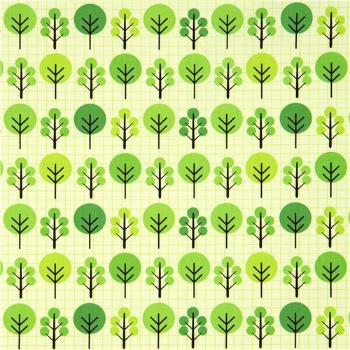 green fabric with trees and grid pattern Robert Kaufman USA
