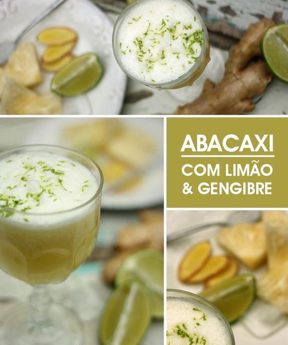 Achados da Bia | Receitas sucos | Abacaxi com limão e gengibre - http://www.achadosdabia.com.br