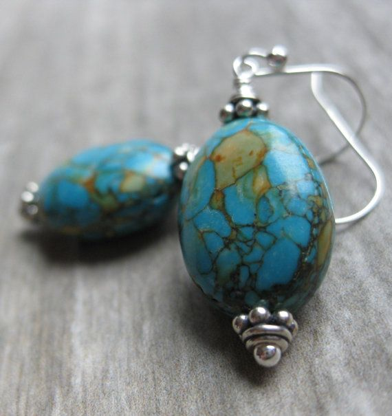 Blue turquoise stone earrings handmade by Bethany Rose Designs. See more handcrafted jewelry at www.BethanyRoseDesigns.etsy.com