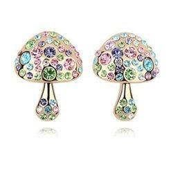Golden Mushroom Multicolor Crystal Stud Earrings Contempo Culture