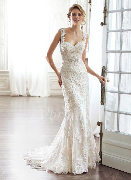 Robes de mariée - $216.99 - Forme Fourreau Bustier en coeur Traîne moyenne Satiné Dentelle Robe de mariée avec Ceintures Emperler À ruban(s) (0025056591)