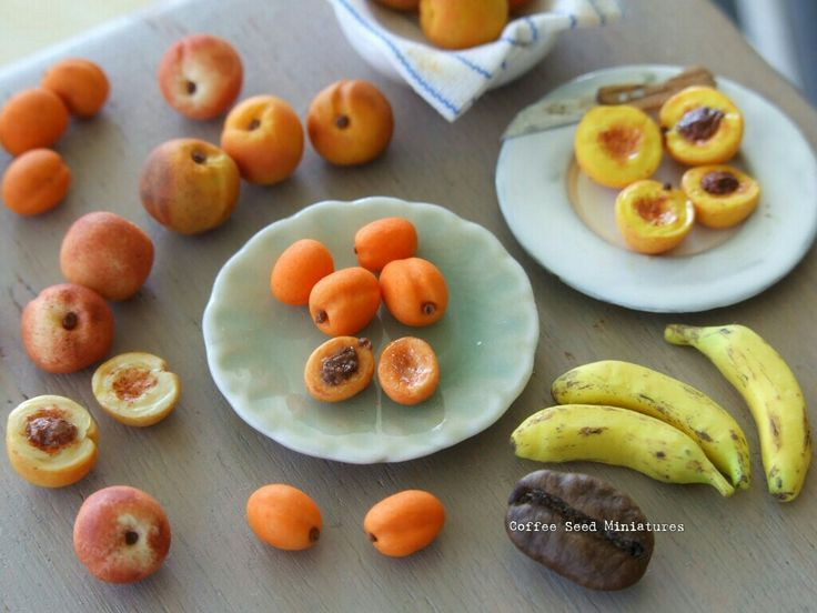 Miniature polymer clay fruits