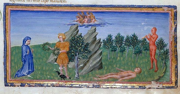 Giovanni di Paolo, Paradiso, Dante e Apollo nel Parnaso.  Date1440s