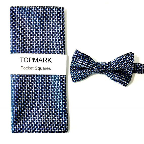 Bow Tie and Pocket Square Set Blue Geometric Grooms