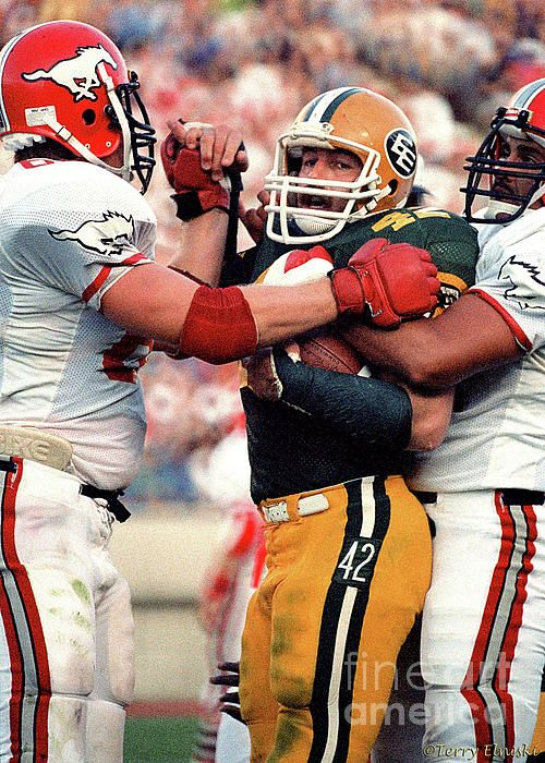 Photograph taken of Edmonton Eskimos middle linebacker Dan Kepley #42 being sandwiched between two Calgary Stampeders offensive linemen after a play where Dan Kepley comes up with the football. Taken in Edmonton 1984.