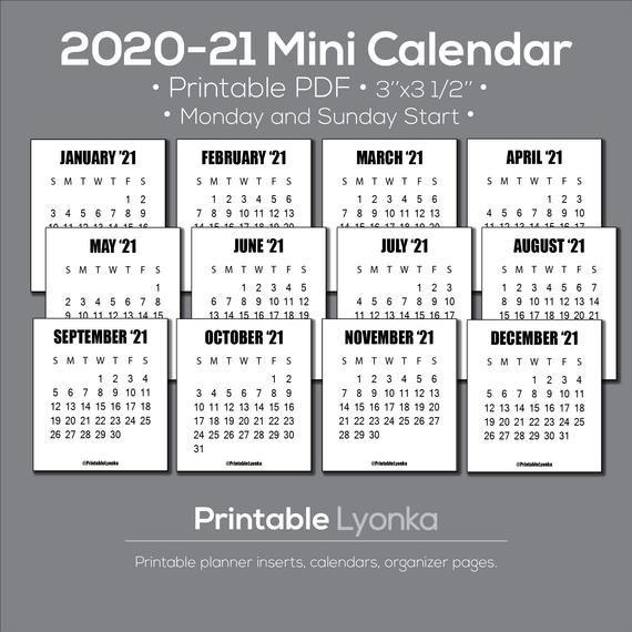 Mini Calendar 2022.2021 2022 Mini Calendar Tab Size 3 X 3 1 2inch Printable Etsy Mini Calendars Calendar Printables Monthly Calendar Printable
