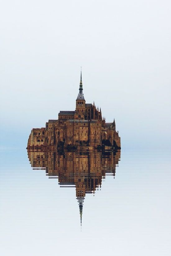 High tide, Mont St. Michel, France//