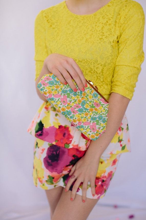 Pink and Yellow Liberty of London Print Clutch Open by LoBoheme