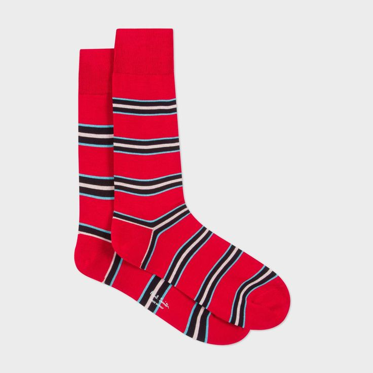 Paul Smith men's red 'Paul Stripe' odd socks.