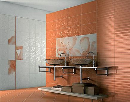 coral color italian tile modern bathroom with two vessel sinks