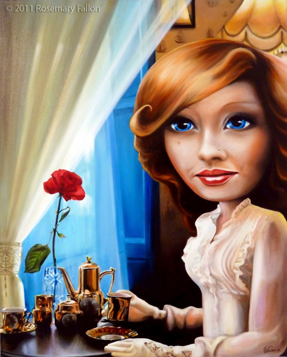 """coffee shop girl oil on canvas - 30""""x24"""" (76x61cm) - signed and dated 2011 daydream of a first date www.rosemaryfallon.ie/"""