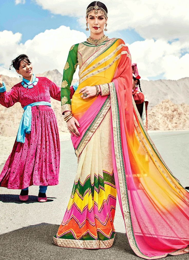 Buy sarees online at heustyle, a brand with huge collection of bridal sarees. Shop this captivating multi colour shaded saree.