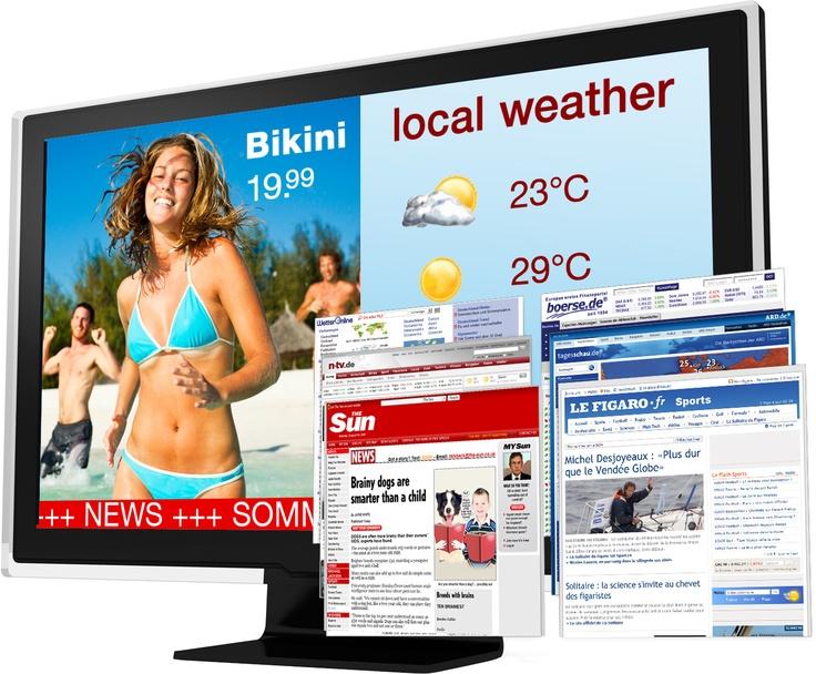 Una pantalla en el punto de venta con la oferta de un Bikini, junto al tiempo previsto, las noticias, vídeos de playas paradisiacas ... lo tienes todo para influir a los clientes en el punto de venta!