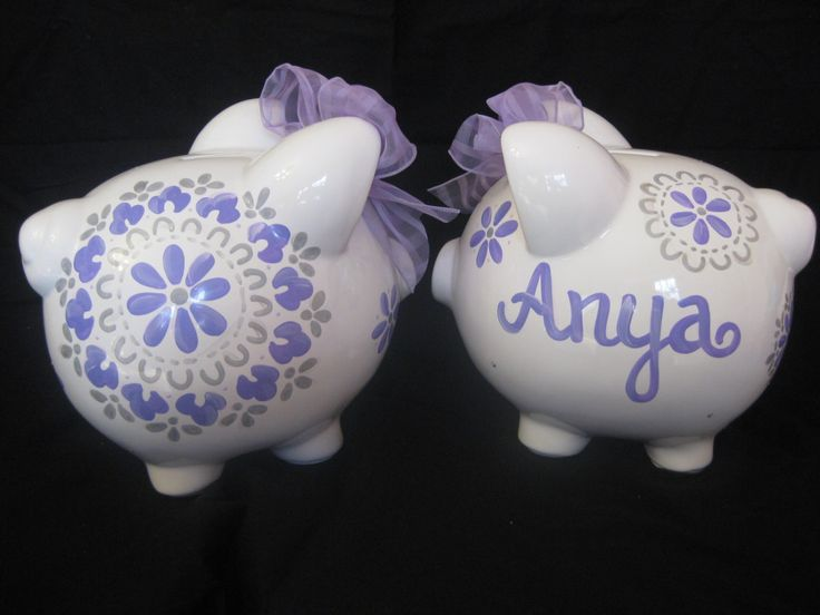 piggy bank hand painted personalized pbk by andrewandelladesigns, $29.50