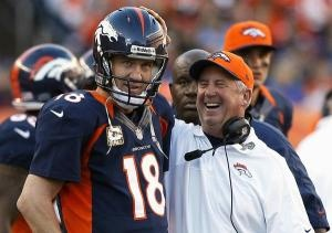 Peyton Manning & John Fox .. I like the way he looks here, whoever he is looking at.