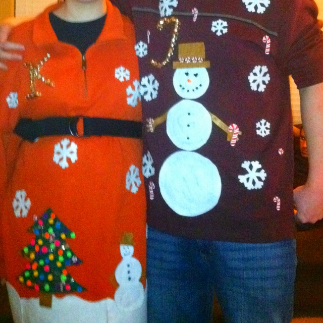 Home made ugly Christmas sweaters. Needless to say, we won the contest!