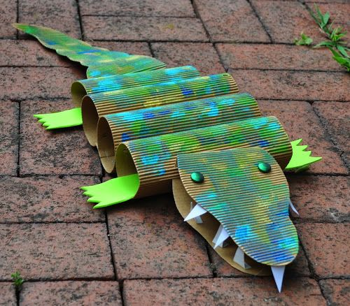 Summer Kids Crafts - I like the cardboard alligator on this page, but the pinwheel seems much more doable