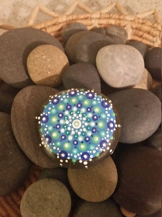 Painted mandala beach stone by CraftedbyCynthia on Etsy