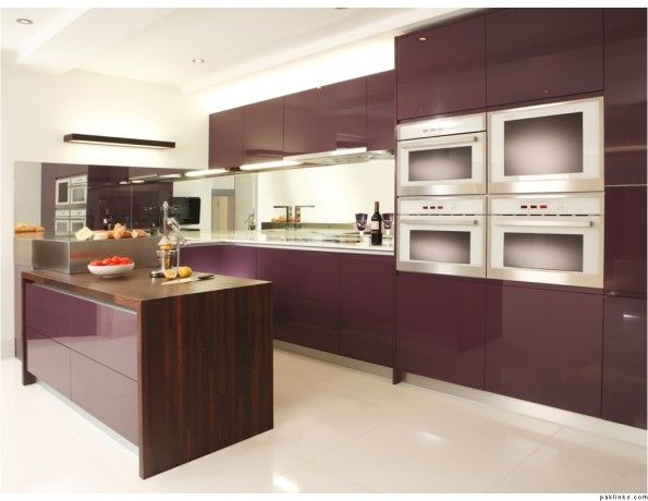 Kitchen Dark Purple Modern L Shaped Kitchen Cabinet With White Marble Countertop Also