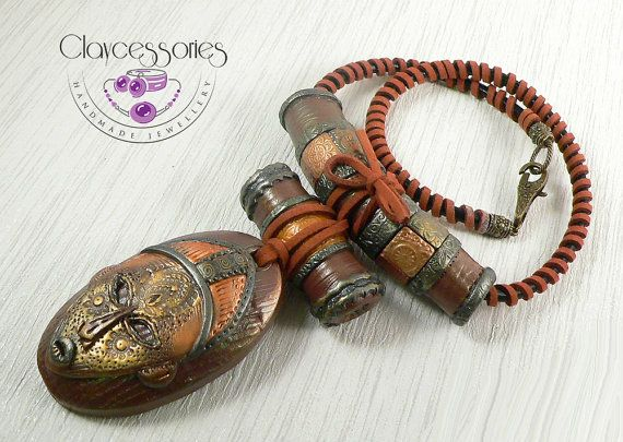 African necklace-African mask necklace-Polymer by claycessories