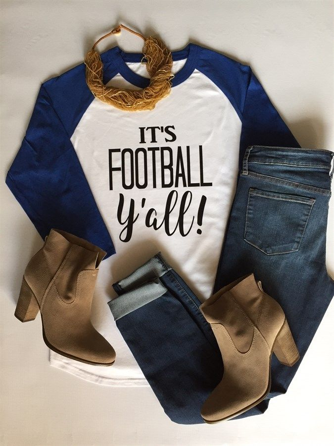 It's Football Y'all!  Root for your favorite football team this season with our adorable football raglans!  Customize your shirt colors for your favorite NFL, College, or High School team!