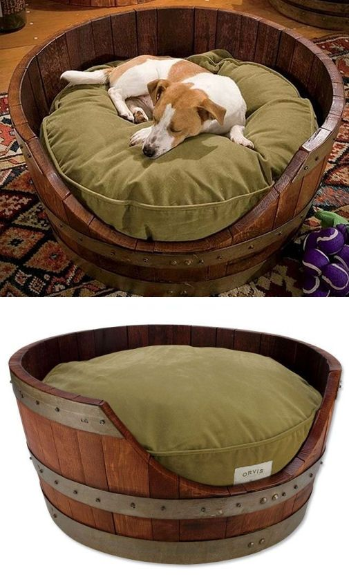 Wine Barrel Dog Bed ♥ I'm going to have a English bull dog one day and this will be his bed!