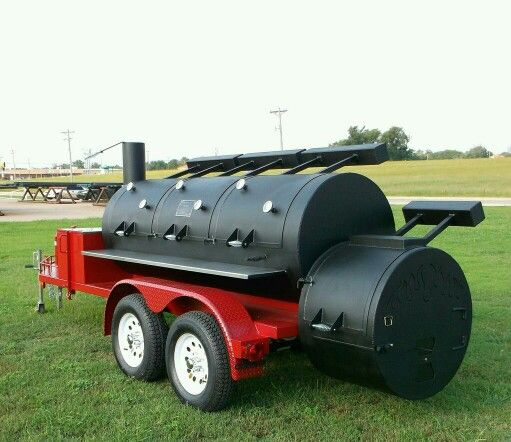 "Beautifully Custom Built 36"" Triple Door Trailer Smoker. Over 100 Colors to choose from! #HorizonSmokers"