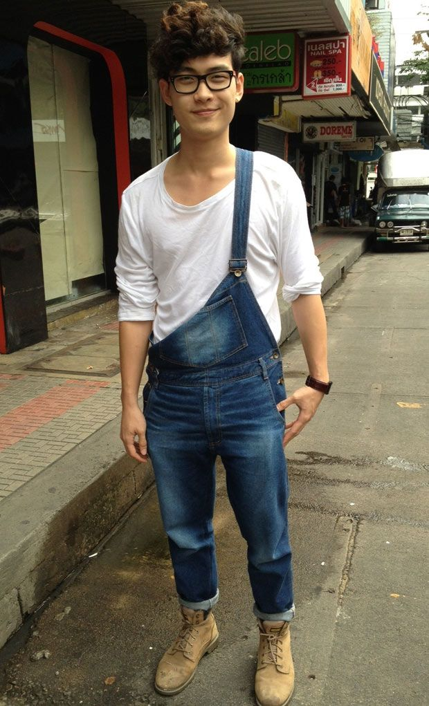 White long-sleeve tee + overalls + work boots
