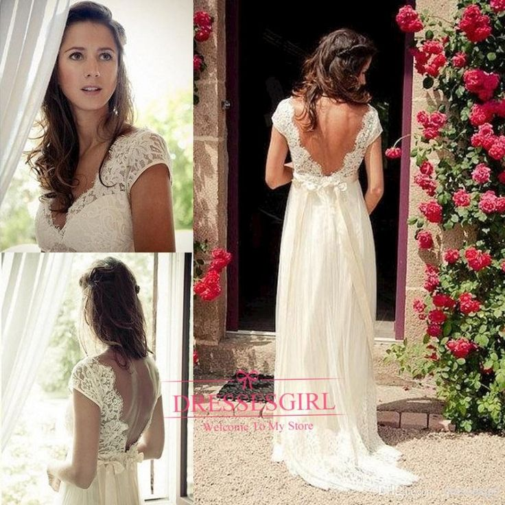 2015 sexy backless beach wedding dresses v neck cap for Backless wedding dresses with sleeves