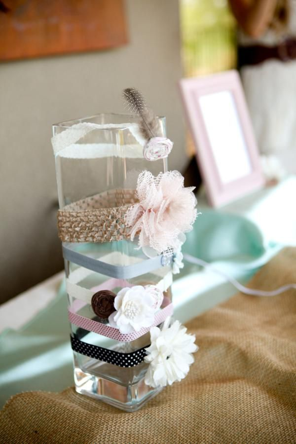 Make headbands for the new baby as an activity at a baby shower! Shabby chic baby shower via Kara's Party Ideas - THE place for all things party!
