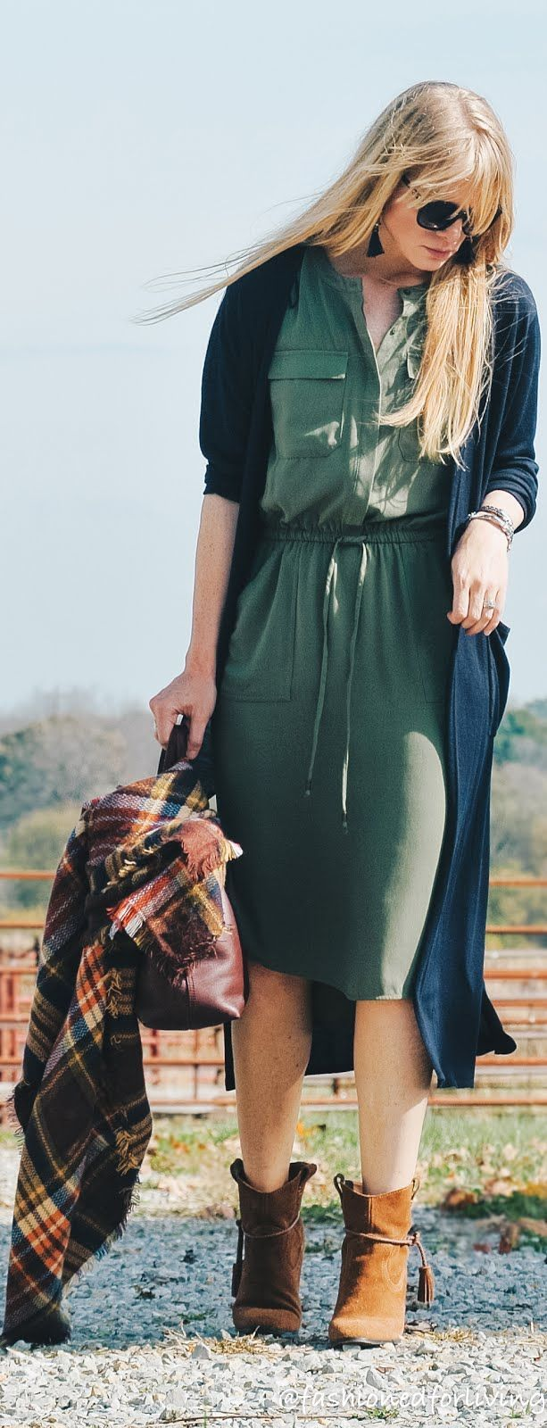 fall dress outfit. olive dress with duster cardigan, blanket scarf, & tassel mid booties