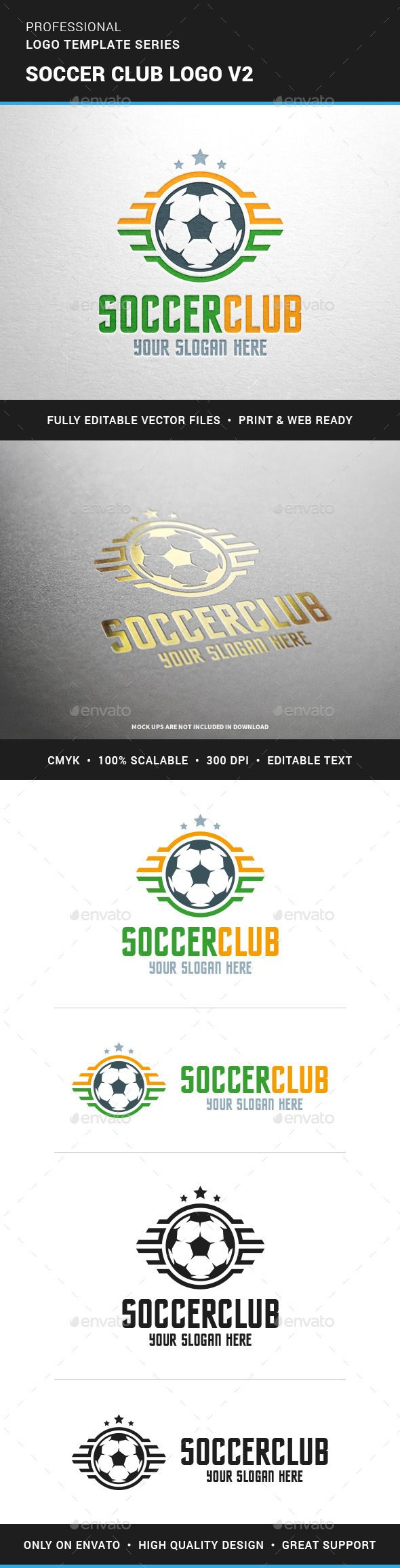 Soccer Club Logo Template v2 — Vector EPS #team #clothing • Available here → https://graphicriver.net/item/soccer-club-logo-template-v2/12112763?ref=pxcr