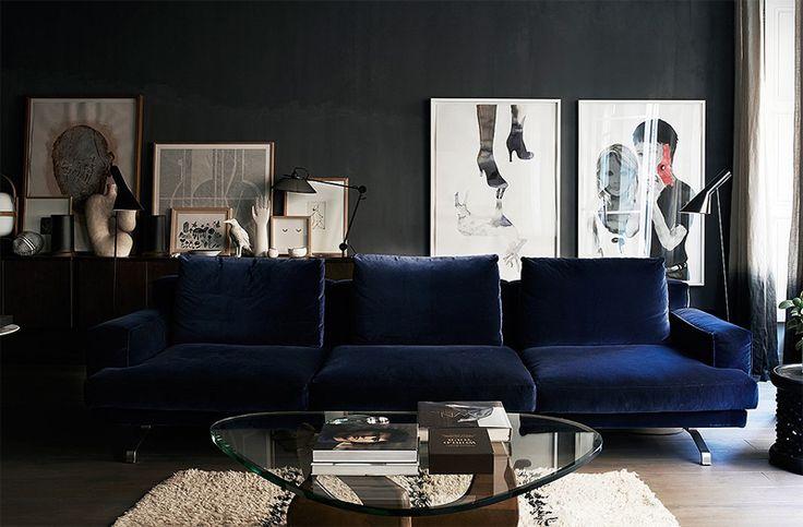 Dreamy blue velvet couch