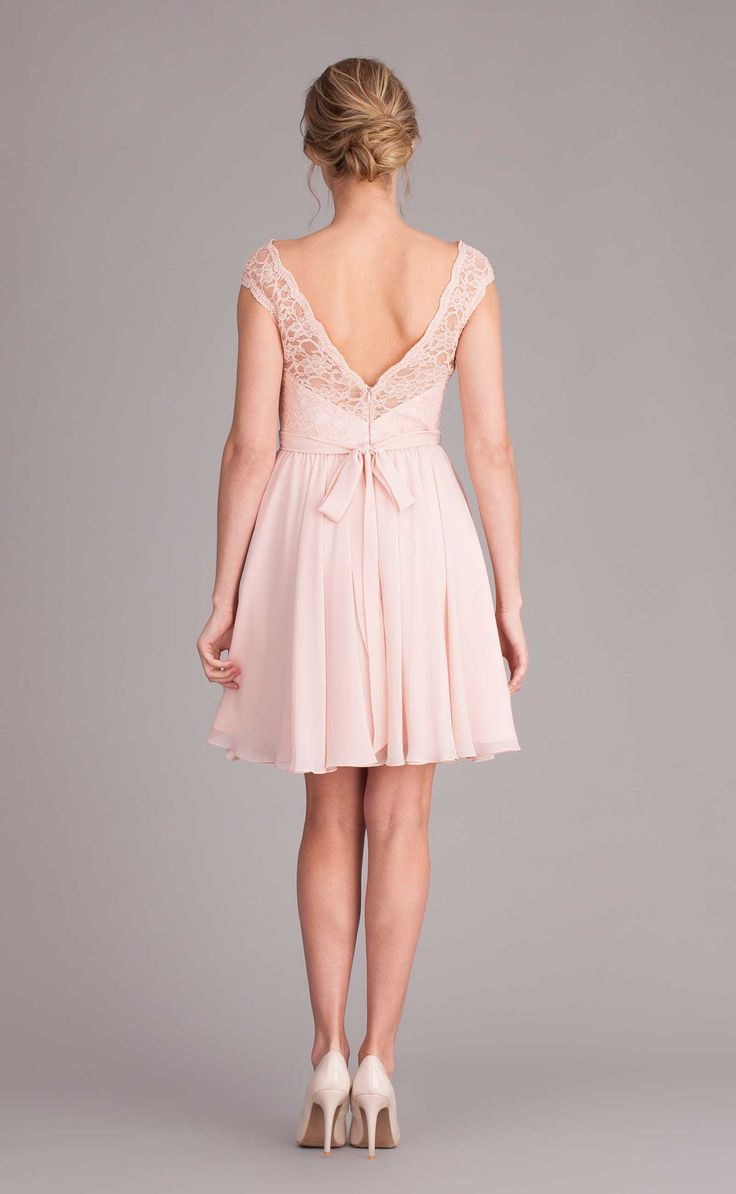 142 best lace chiffon bridesmaid dresses images on pinterest a beautiful bridesmaid dress with a high illusion neckline and cap sleeves and a back ombrellifo Images