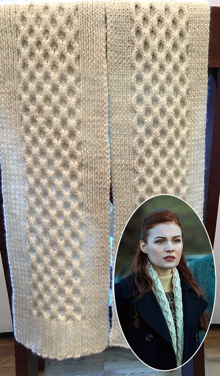 """Free Knitting Pattern for Brianna Honeycomb Scarf - Brianna Honeycomb Scarf  Scottish Princess's scarf was inspired by the scarf Brianna wore in season 2 finale of Outlander """"Dragonfly in Amber""""."""