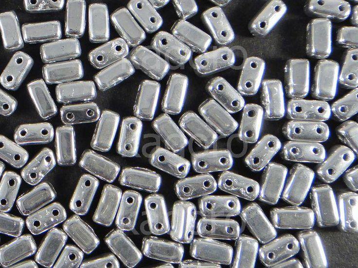 Bricks 6x3mm Silver - 20 sztuk  Koraliki CzechMates System  »  CzechMates Bricks 6x3 mm