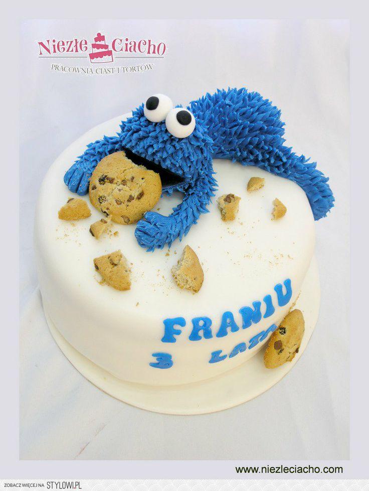 Ciasteczkowy Potwór, Cookie Monster, Ulica Sezamkowa, tort dla ciastożercy, tort dla ciasteczkożercy, potwór ciasteczkowy, torty dla dzieci, tort urodzinowy