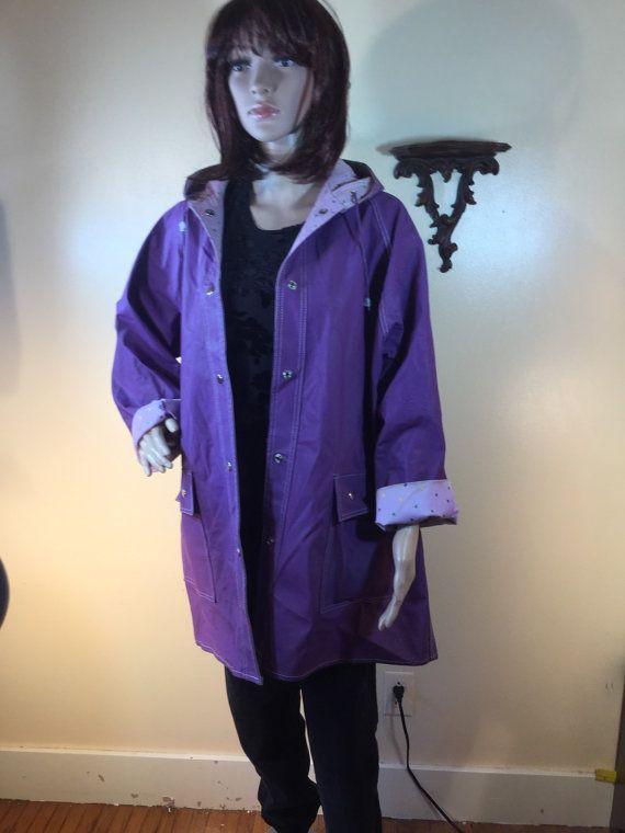 Vintage 70s pvc raincoat reversible purple by 3GenerationCuration