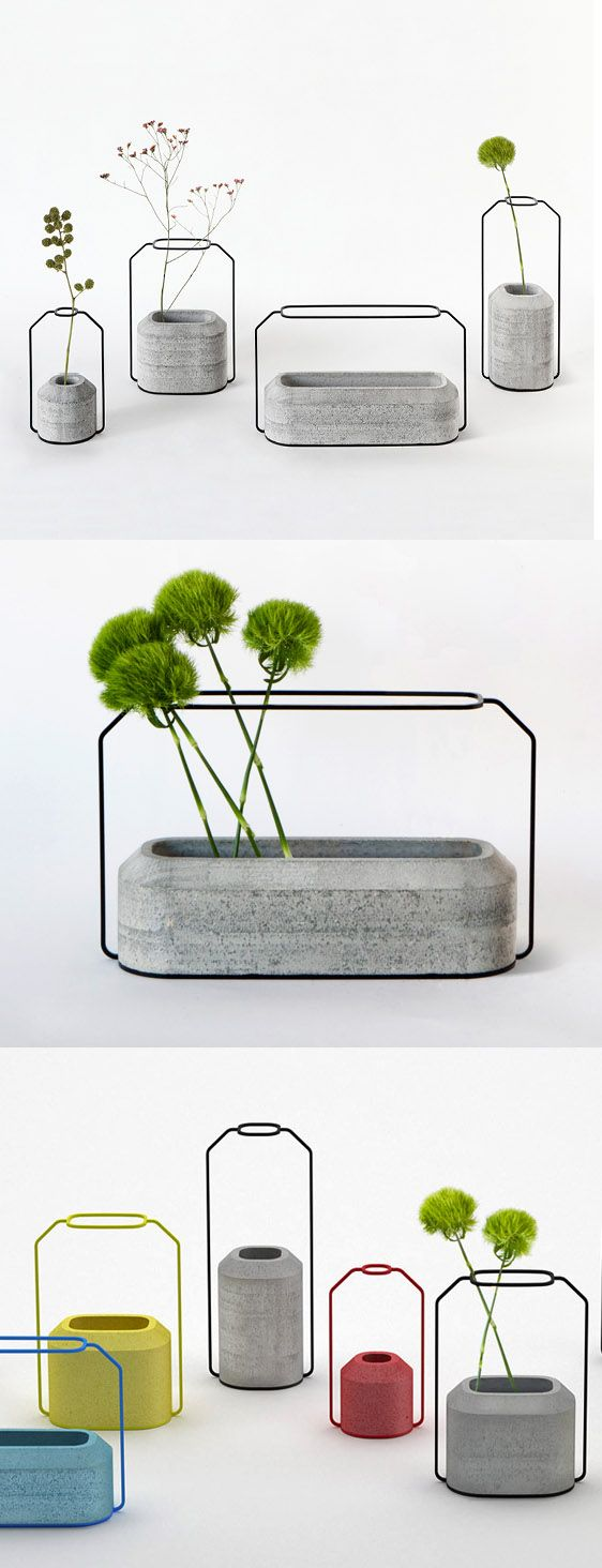Modern Cement Vases: very clever, in how the wire provides a flat, 2D outline (wire frame)