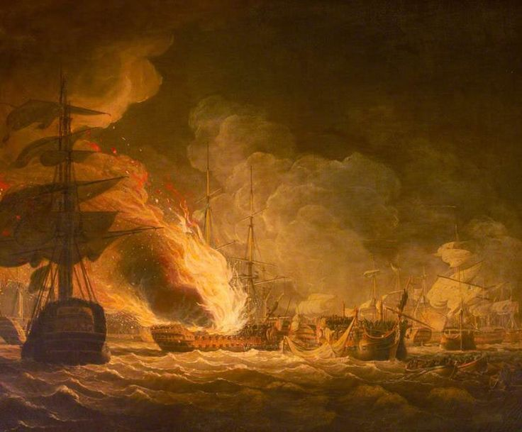French Flagship L'Orient on fire at the Battle of the Nile on 1st August 1798 in the Napoleonic Wars: picture by John Thomas Serres