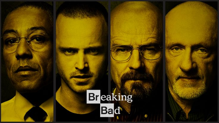 This Breaking Bad picture presents a balanced symmetrical formation that emphasizes their faces more rather than the text. Although there isn't as much focus on the text, the words with the image create a sense of unity. Therefore, the picture shows principled of design. The value and the lining of the picture compliment each other and also helps create more emphasis on their faces.