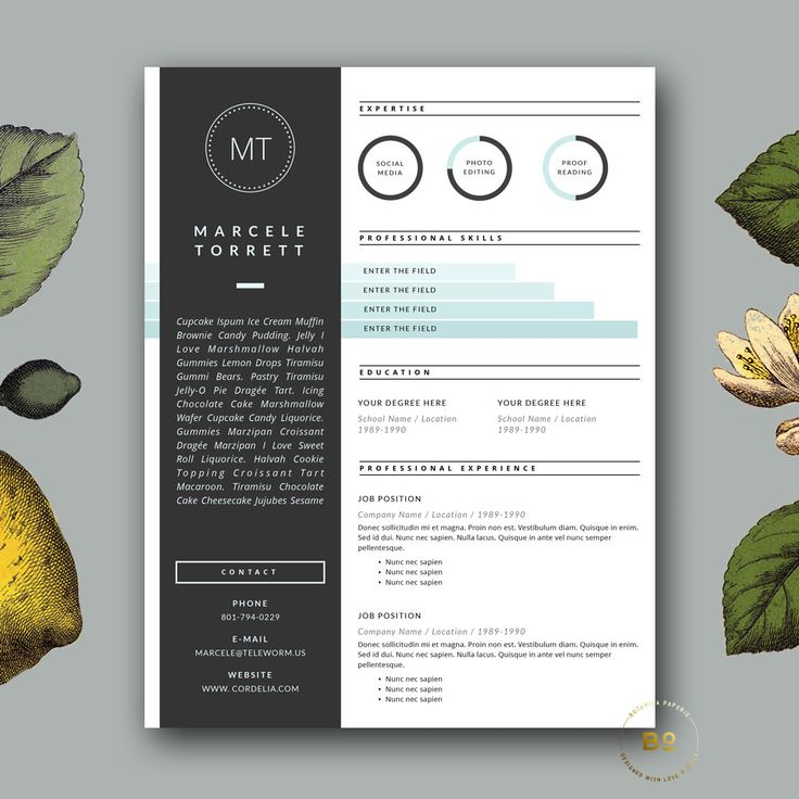 3 Page Resume Template | Professional Resume and Cover Letter for MS Word and Pages | Modern CV Template | Instant Download (15.00 USD) by BotanicaPaperieShop